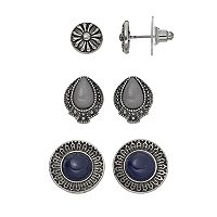 Antiqued Nickel Free Stud Earring Set