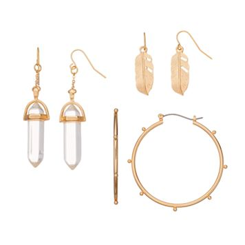 Faceted Stone, Feather & Notched Hoop Earring Set