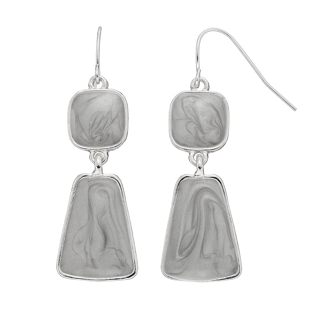 Gray Swirl Geometric Nickel Free Double Drop Earrings