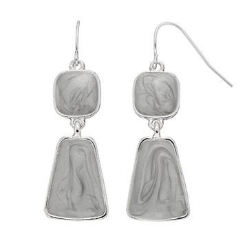 Gray Swirl Geometric Nickel Free Double Drop Earrings