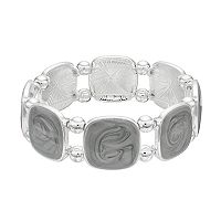 Gray Swirl Square Stretch Bracelet