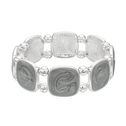 Gray Swirl Square Stretch Bracelet