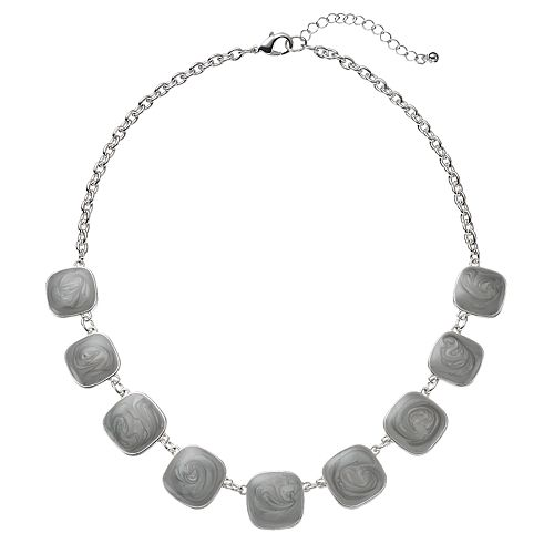 Gray Swirling Square Necklace