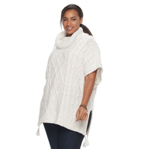 Plus Size SONOMA Goods for Life™ Cable Tassel Poncho Sweater
