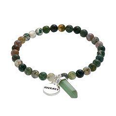 Healing Stone Jasper Bead & 'Journey' Charm Stretch Bracelet
