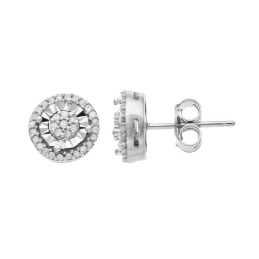 Sterling Silver 1/4 Carat T.W. Diamond Cluster Stud Earrings