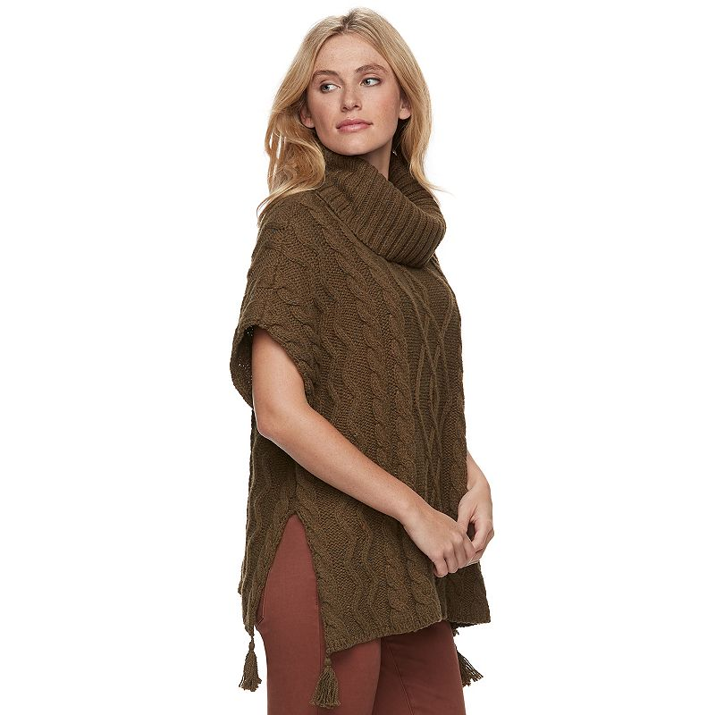 2be97145f99b Women's SONOMA Goods for Life™ Cable Knit Poncho Sweater (Dark Green ...