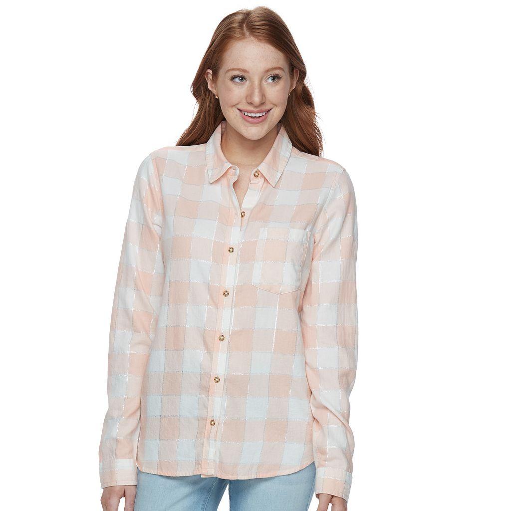 Juniors' SO® Plaid Lurex Shirt