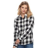 Juniors' SO® Plaid Lurex Shirt