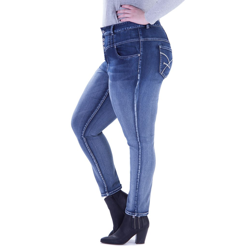 Juniors' Plus Size Amethyst 4-Button High-Waisted Skinny Jeans