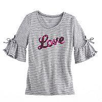 Girls 7-16 SO® 3/4-Length Bell Sleeve Sequin Striped Tee