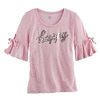 Girls 7-16 SO® 3/4-Length Bell Sleeve Sequin Striped Tee