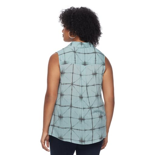 Plus Size Rock & Republic® Plaid Sleeveless Shirt