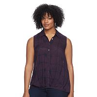 Plus Size Rock & Republic® Plaid Sleeveless Shirt
