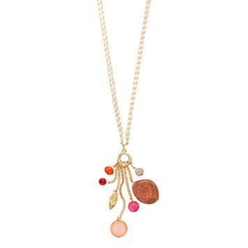 Leaf & Fireball Charm Necklace