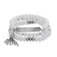 White Beaded Tassel Coil Bracelet