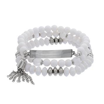 White Beaded Tassel Coil Bracelet