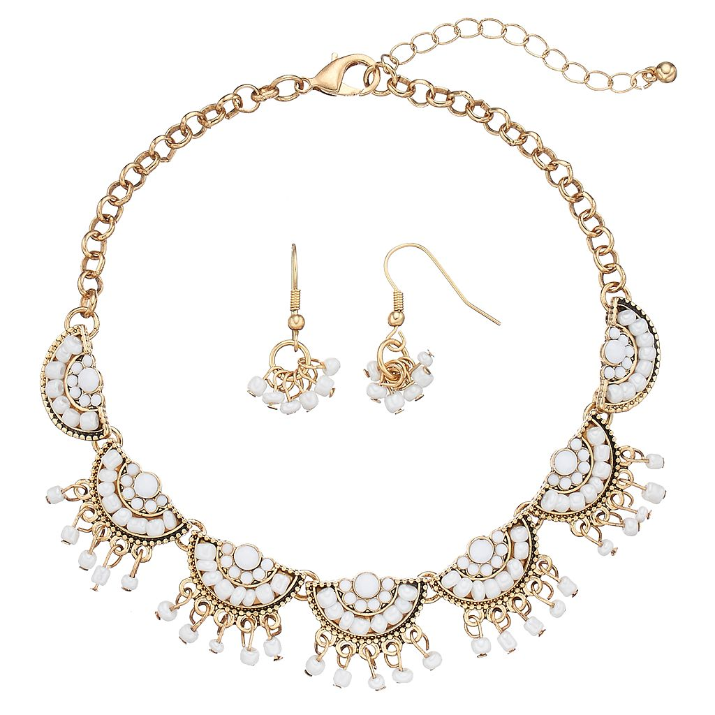 White Seed Bead Semicircle Choker Necklace & Drop Earring Set