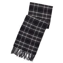 Men's Chaps Reversible Plaid and Herringbone Scarf