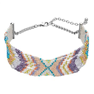 Seed Bead Chevron Choker Necklace