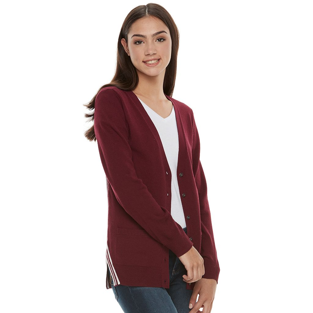 Juniors' SO® Colorblock Varsity Cardigan