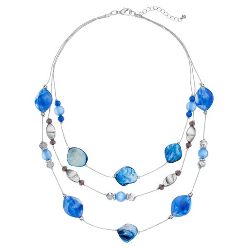 Blue Marbled Bead Multi Strand Necklace