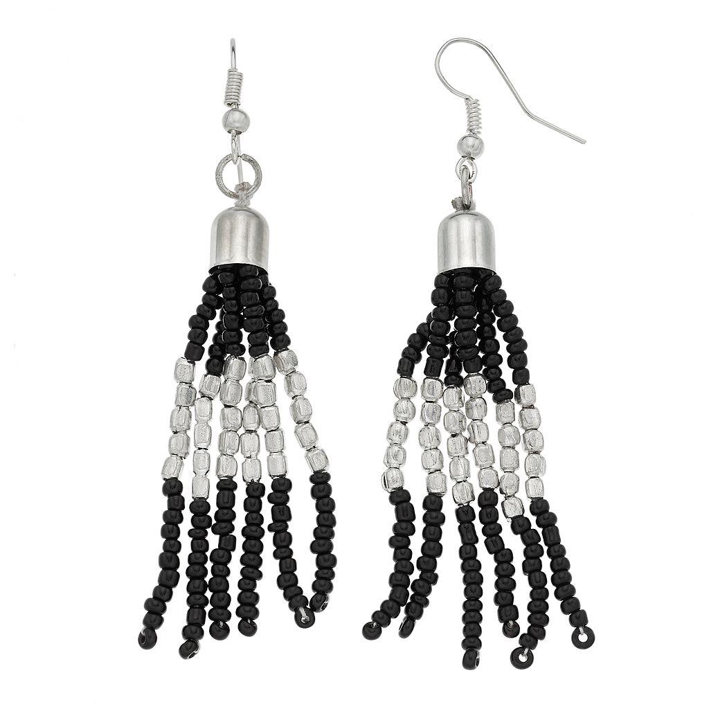 Black Seed Bead Tassel Nickel Free Drop Earrings