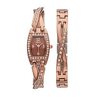 Folio Women's Crystal Half-Bangle Watch & Bracelet Set