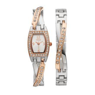 Folio Women's Crystal Half-Bangle Watch & Bracelet Set