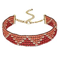 Peach Zigzag Seed Bead Choker Necklace
