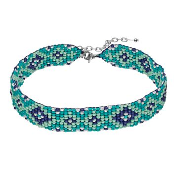 Mosaic Seed Bead Choker Necklace