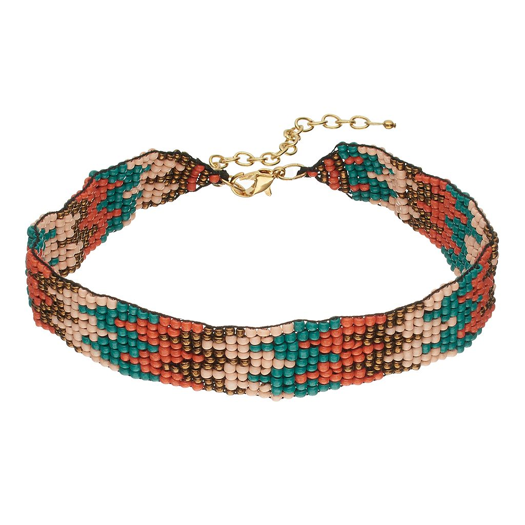 Zigzag Seed Bead Choker Necklace