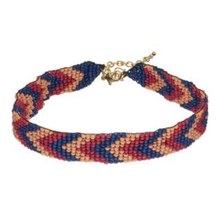 Chevron Seed Bead Choker Necklace