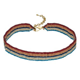 Striped Beaded Choker Necklace