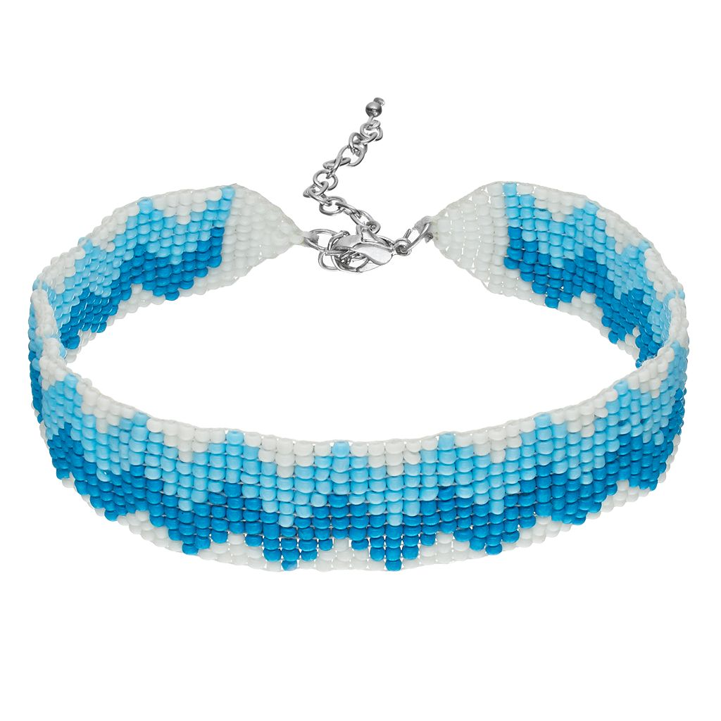 Blue Zigzag Seed Bead Choker Necklace