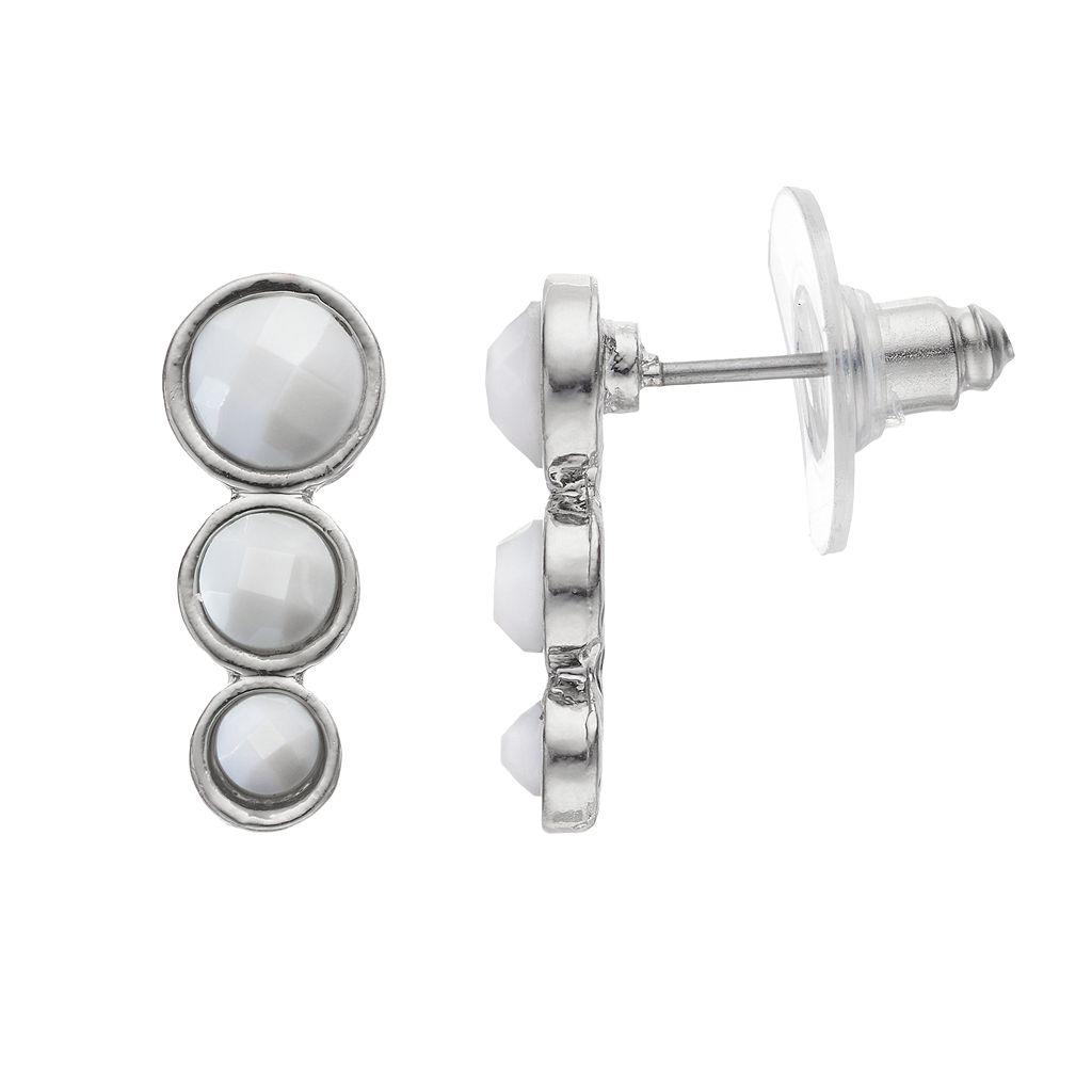 Graduated White Stone Nickel Free Linear Drop Earrings