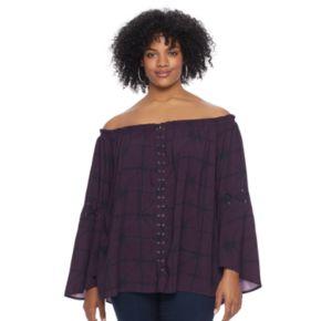 Plus Size Rock & Republic® Off-the-Shoulder Lace-Up Top