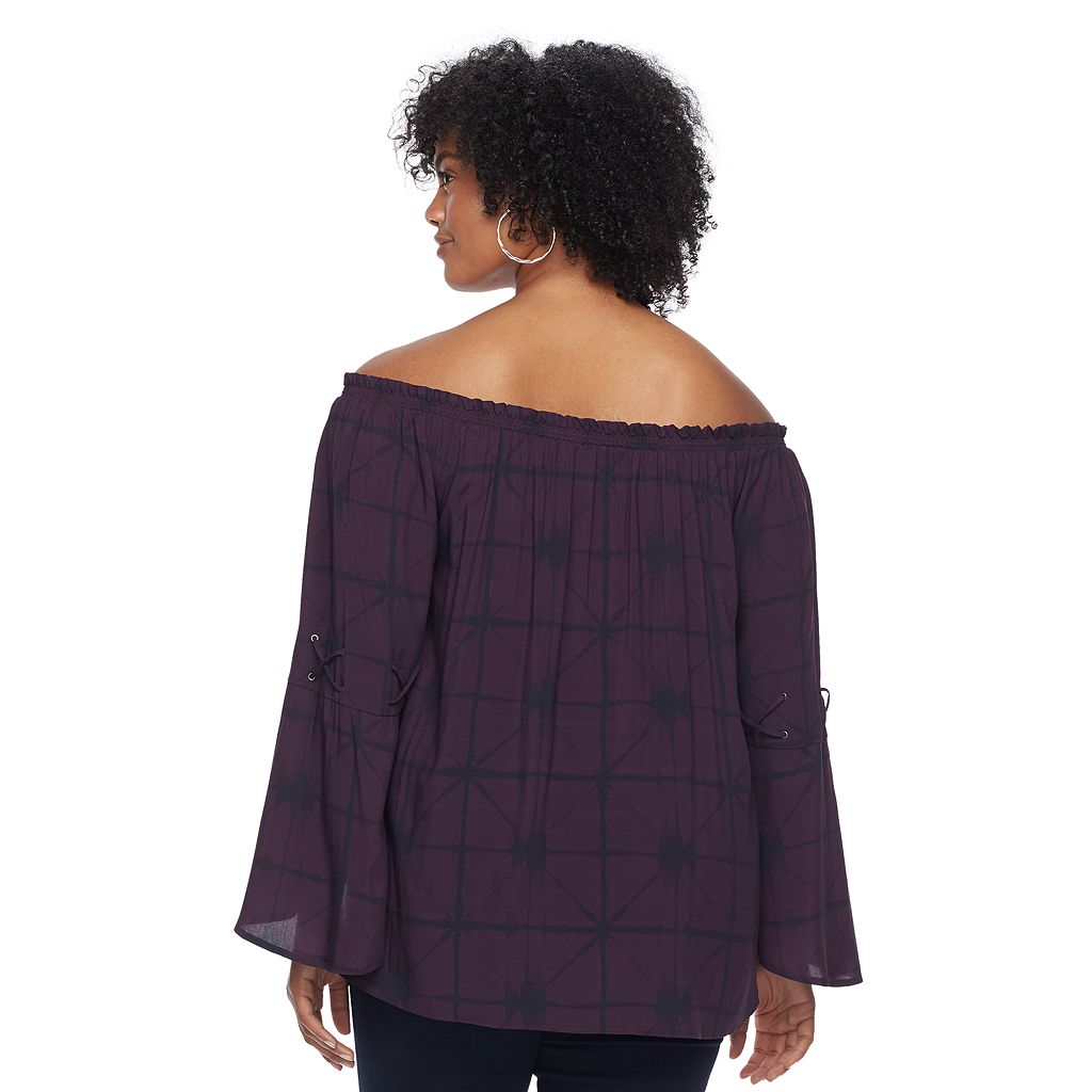 Plus Size Rock & Republic® Off-the-Shoulder Lace-Up Top