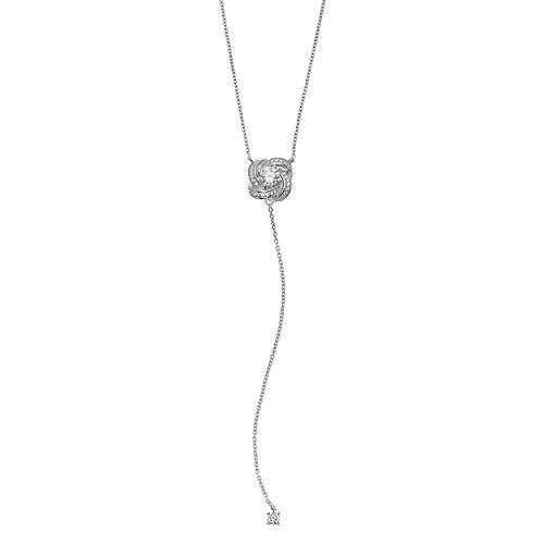 PRIMROSE Sterling Silver Cubic Zirconia Love Knot Y Necklace