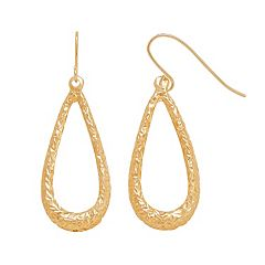 Everlasting Gold 14k Gold Textured Teardrop Earrings