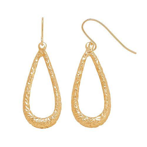 Everlasting Gold 14k Gold Textured Teardrop Earrings