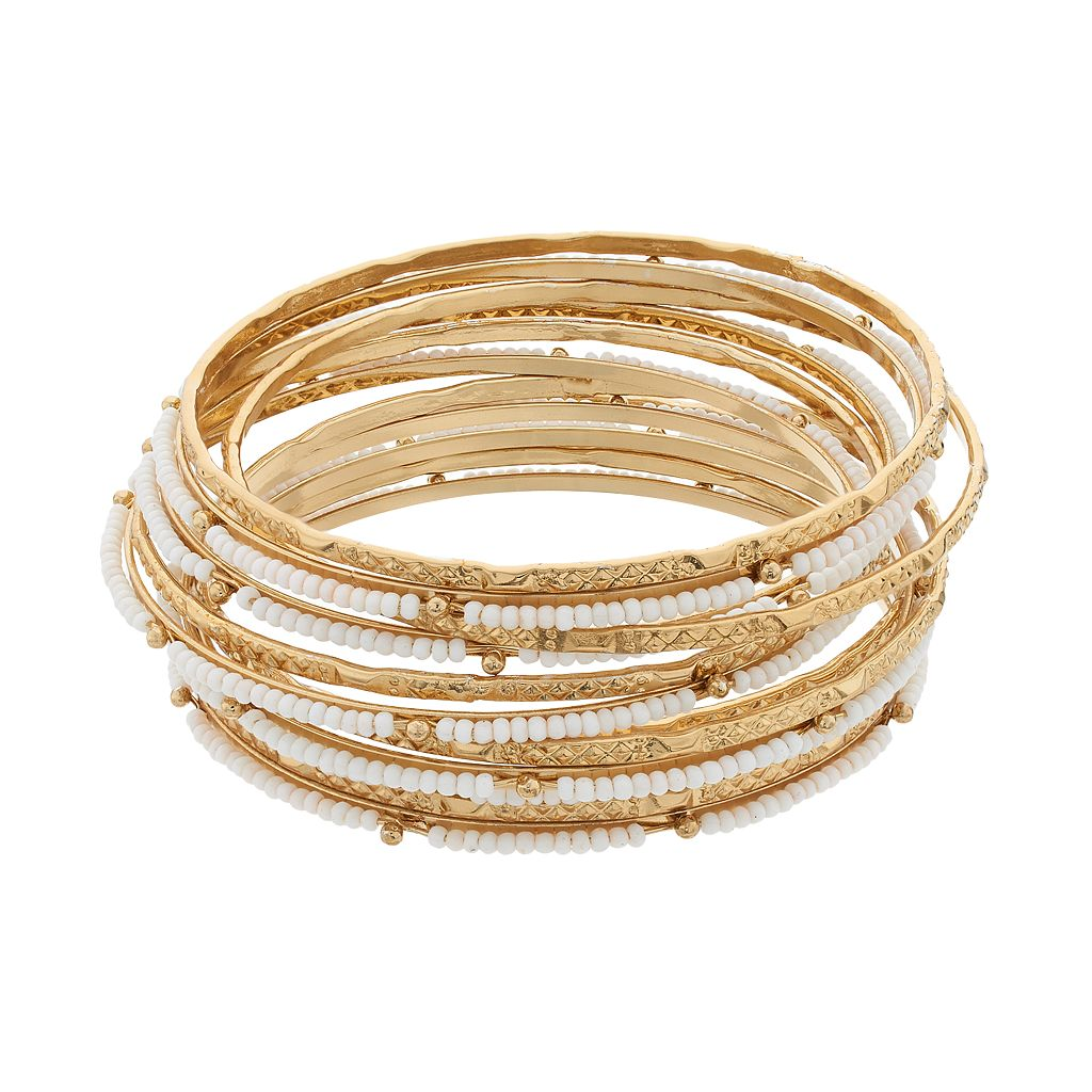 White Seed Bead Bangle Bracelet Set