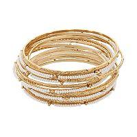 White Seed Bead Bangle Bracelet Set