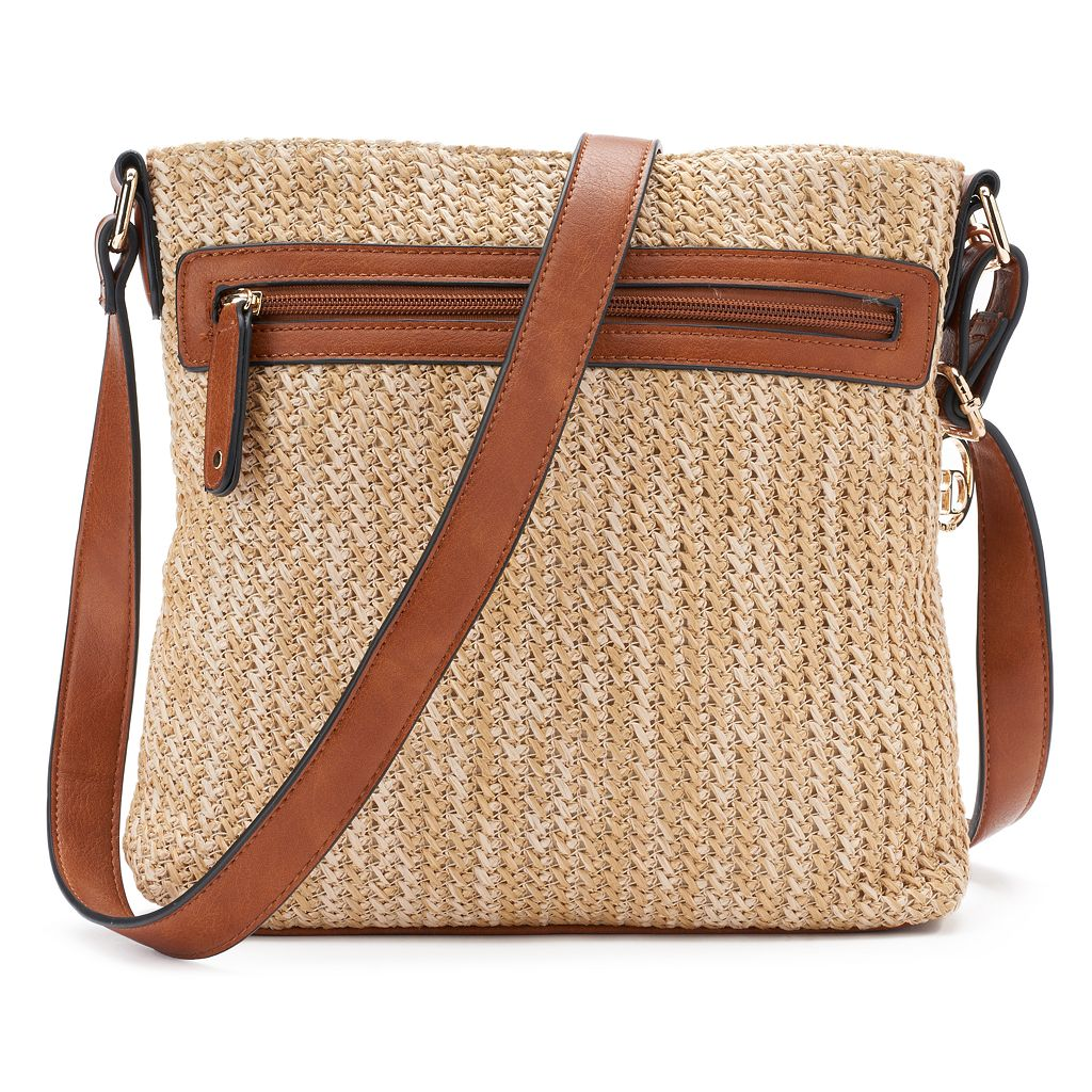 La Diva Cassandra Triple-Entry Straw Crossbody Bag