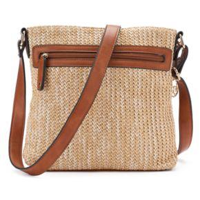 La Diva Cassandra Triple-Entry Straw Crossbody Bag