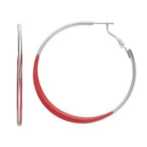 Red Nickel Free Hoop Earrings