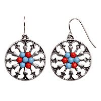 Cabochon Cluster Nickel Free Cutout Disc Drop Earrings