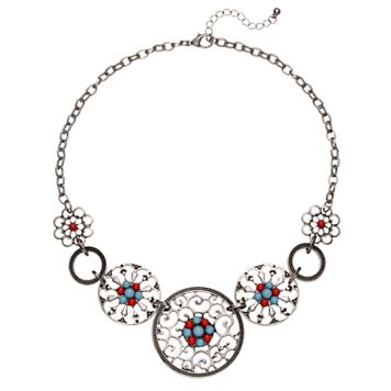 Filigree Medallion Statement Necklace