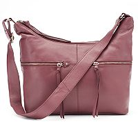 La Diva Gemma Dual-Entry Leather Hobo
