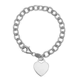 Pure Sterling Silver Rolo Chain Heart Charm Bracelet